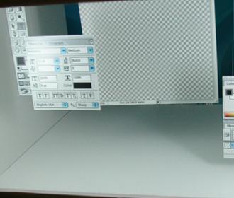 3次元で表現されたフォトショップのインタフェース